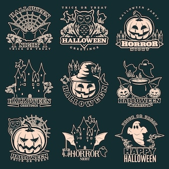 Набор монохромных эмблем хэллоуин