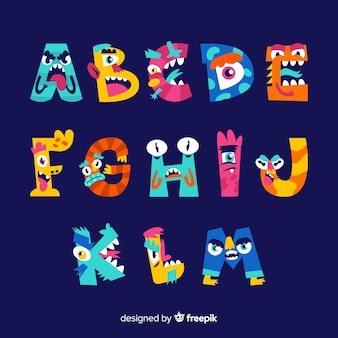 Halloween monster alphabet on blue background
