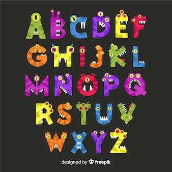 Halloween monster alphabet concept