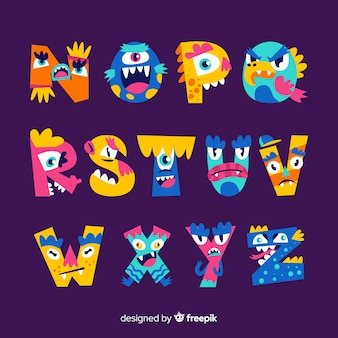 Halloween monster alphabet on violet background