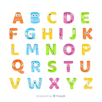 Halloween monster alphabet on white background
