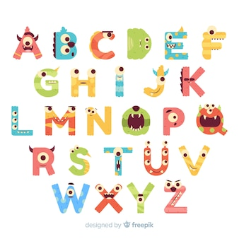 Halloween monster alphabet with funny eyes