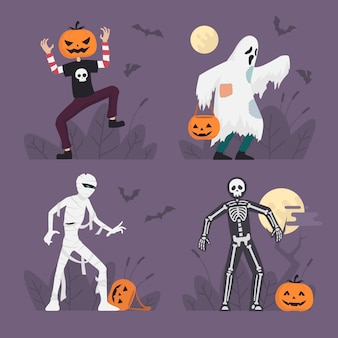 Halloween monster costumes set in flat design, halloween character illustration, ghost, mummy, skeleton