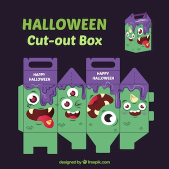 Halloween monster cut-out box