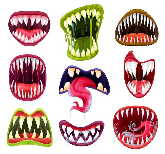 ハロウィーンモンスターの口、歯、舌の漫画セット。恐ろしい悪魔と吸血鬼の笑顔、エイリアンの獣の狂った恐怖の顔、鋭い牙、唾液、唇、血の滴を持つ怒っているゾンビ