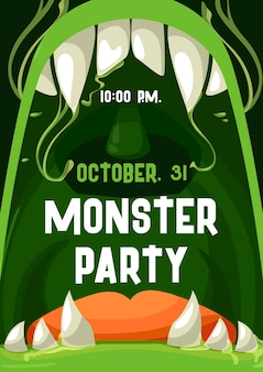 Halloween monster party invitation poster with open zombie mouth and teeth frame