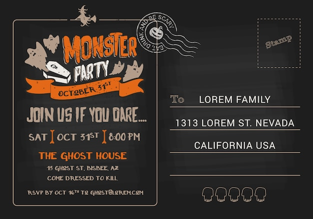 Halloween monster party postcard invitation template