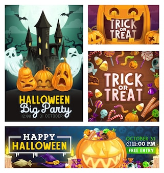 Halloween monster party, trick or treat candies