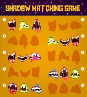 할로윈 괴물 아이 교육 퍼즐 디자인의 그림자 일치 게임 템플릿 미소