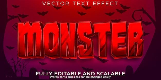 Текстовый эффект монстра хэллоуина, редактируемый красный и злой стиль текста