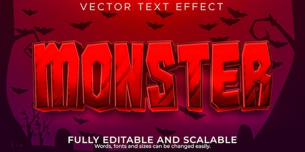Halloween monster text effect, editable red and evil text style