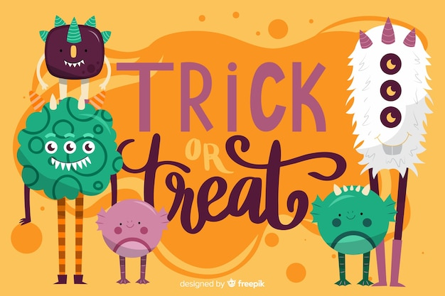 Halloween monsters background in flat design Premium Vector