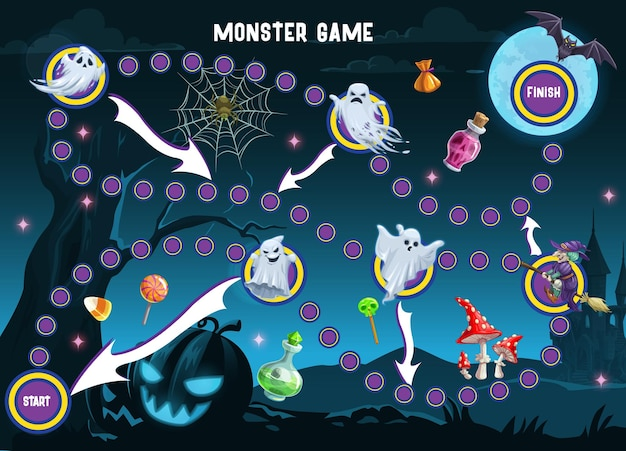 Halloween monsters path board game vector template of children puzzle or maze. dice boardgame of start to finish way with cartoon background of horror night ghosts, pumpkin and witch, bat and candies
