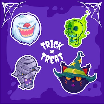Halloween monsters universe sticker of yeti astral skull mummy and witch cat