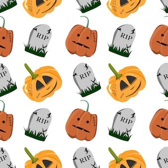 Halloween multicolor pumpkins creepy seamless pattern