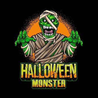 Illustrazione di vettore del personaggio della mummia di halloween