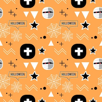 Halloween mummy and geometric cute seamless pattern