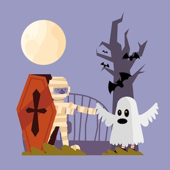 Halloween mummy and ghost cartoons design, scary theme