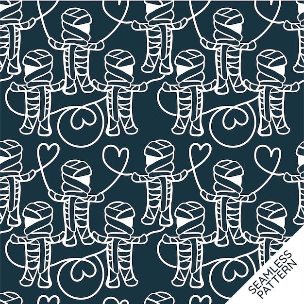 ダークブルーの背景にハロウィンミイラシームレスパターン