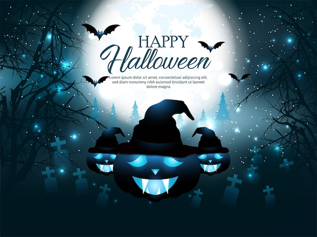 Halloween mystery graveyard background with pumpkin design