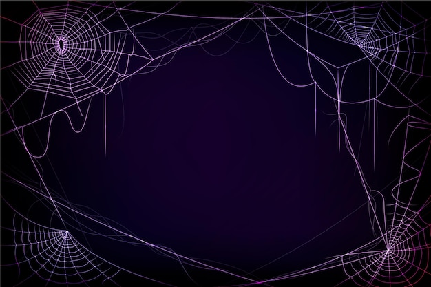 Halloween neon cobweb background
