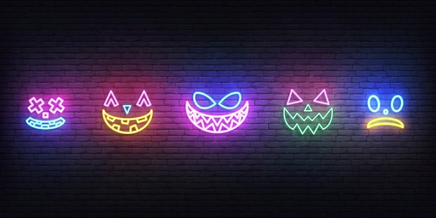 Halloween neon face icons. set of bright face expreshions for halloween celebration.