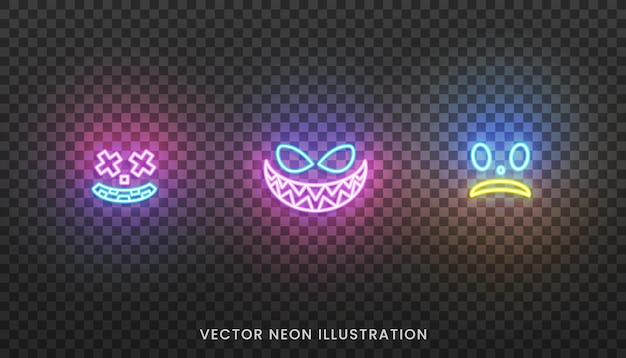Halloween neon face icons. set of bright face expreshions for halloween