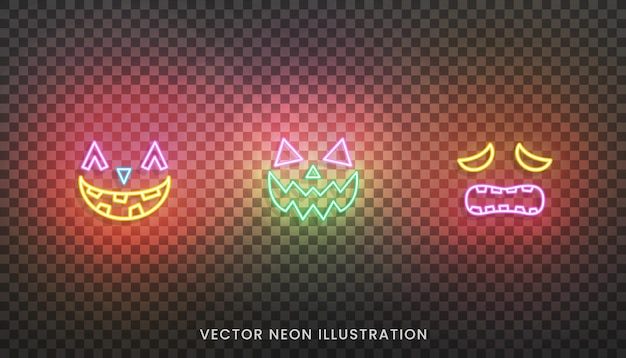 Halloween neon face icons. set of bright neon colored face expreshions for halloween
