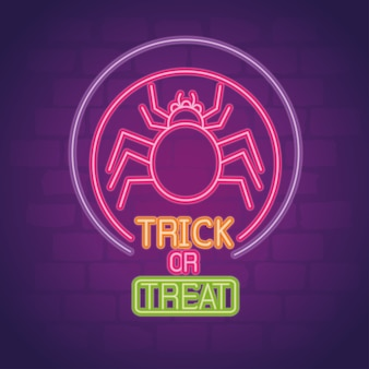 Halloween neon sign with spider