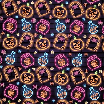 Halloween neon signs pattern