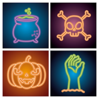 Halloween neon signs with decoration