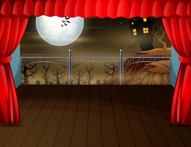 Halloween night background concept on stage illustration