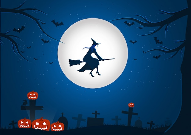 Halloween night background picture with flying witch and bats