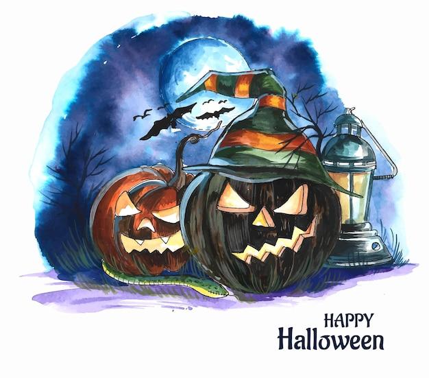 Halloween night background pumpkins and dark castle design
