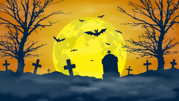Halloween night background. scary cemetery and full moon.