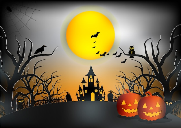 Halloween night background vector illustration