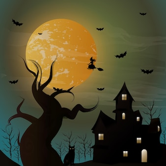 Halloween night background witch flying on a broomstick on the background of a full moon over the c