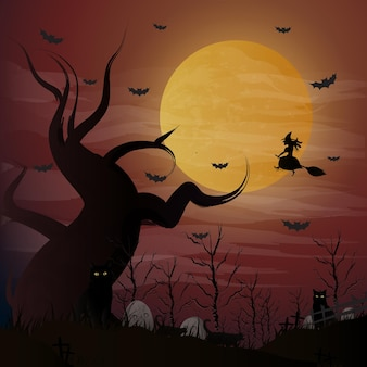 Halloween night background witch flying on a broomstick on the background of a full moon