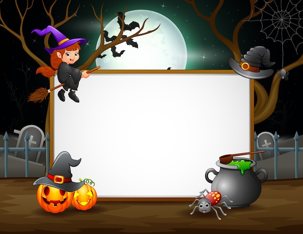 Halloween night background with blank sign