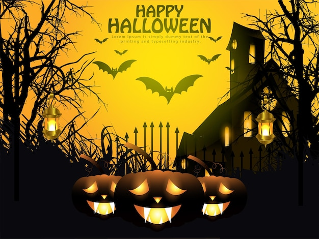 Halloween night background with glowing pumpkin, haunted house and bats.