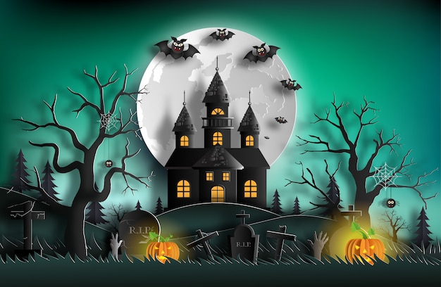 Halloween night background with haunted house.