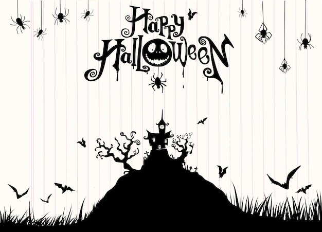 Halloween night background with pumpkin, haunted house.flyer for halloween party.