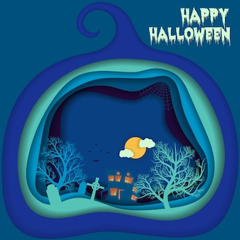 Halloween night background with pumpkin, hounted house and moon.