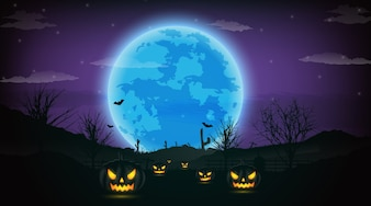 Halloween night background with pumpkin, naked trees