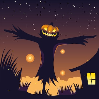 Halloween night background with scarecrow