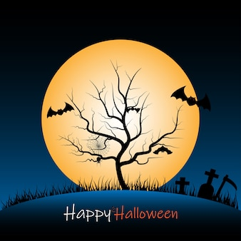 Halloween night background with tree carcass and full moon
