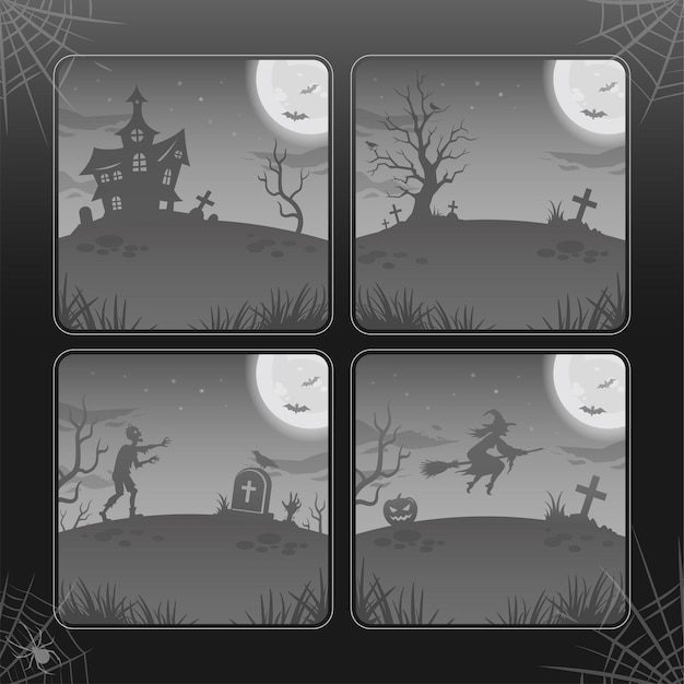 Halloween night backgrounds, illustrations in gray tones. collection. glowing moon, zombie, witch