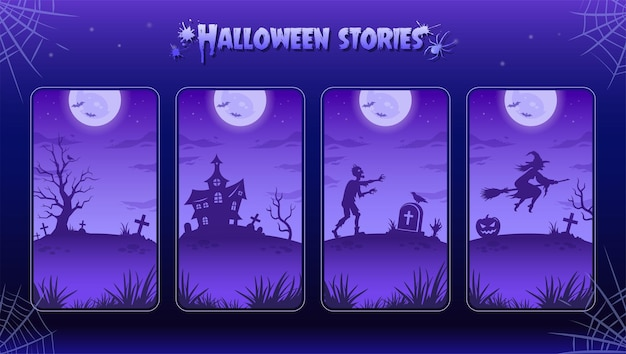 Halloween night backgrounds, illustrations for stories. collection. big glowing moon, zombie, witch