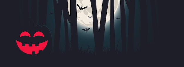 Halloween night banner with full moon, pumpkin and forest. vector design