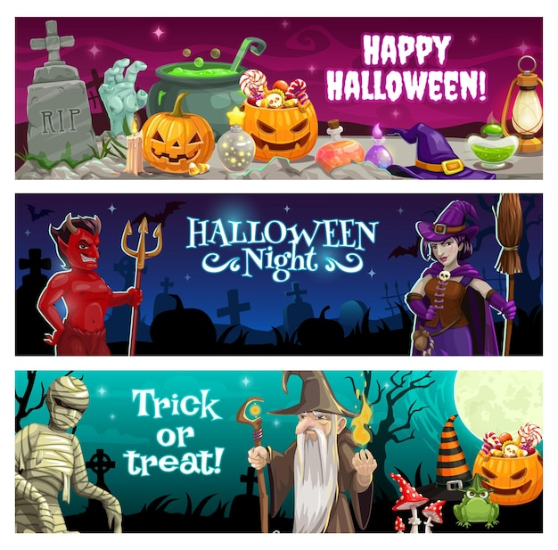 Halloween night banners with treats and monsters